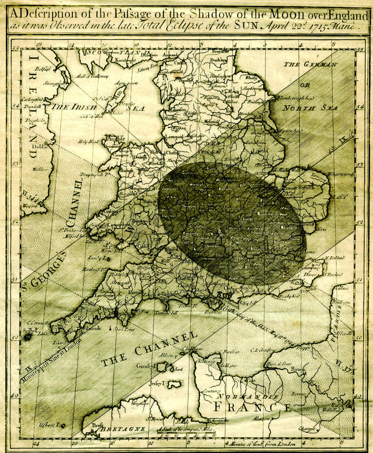 Halley Eclipse Map 1715